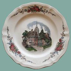 French Obernai Faience Sarraguemines Plate, Village Scene