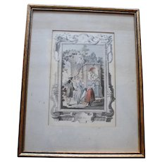 Early 19th Century French Hand Colored Engraving for Month of October