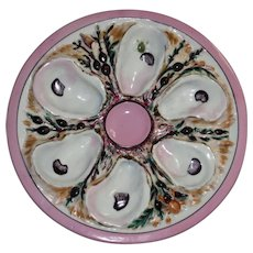 Antique Round UPW Oyster Plate (Union Porcelain Works) w Extensive Nautical Detail