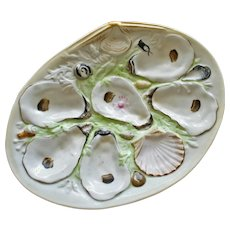 Antique UPW (Union Porcelain Works) Large Clam Shell Oyster Plate
