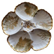 "Antique French Limoges T & V, (Tressemann & Vogt), Oyster Plate retailed by ""Higgins & Seiter"", New York"