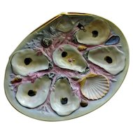 Antique Union Porcelain Works (UPW) Oyster Plate, Large Clam Shell, Gray and Pink