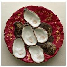 Antique Claret Turkey Oyster Plate by Haviland Limoges