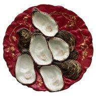 Antique Claret Turkey Plate by Haviland Limoges