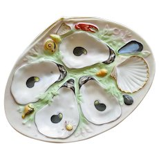 Antique Clam Shape UPW (Union Porcelain Works) Oyster Plate