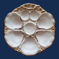 Antique Oyster Plate by Carl Tielsch with Fish Head Sauce Well