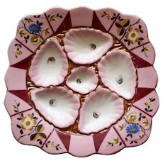 """Antique """"Square"""" Enameled Oyster Plate, Marx and Gutherz, Carlsbad"""