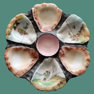 Antique Oyster Plate with Hand Painted Scenes in Wells