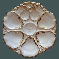 Antique Carl Tielsch Oyster Plate, Blush Center Wells
