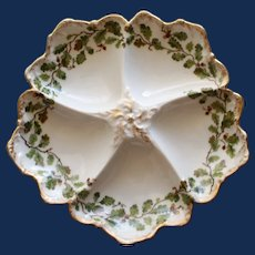 Antique French Limoges T & V Oyster Plate, Acorns and Leaves