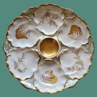 Antique French Limoges Charles Ahrenfeldt Oyster Plate, Ice Blue Luster and Gilt