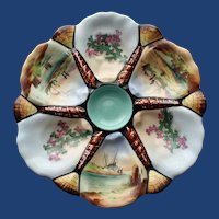 Antique Oyster Plate with Hand Painted Boats and Seaweed in Wells