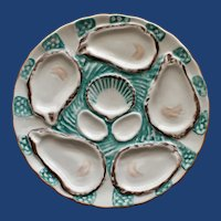 Antique French Haviland Limoges Turquoise Oyster Plate (1877)