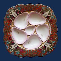 """Antique Continental """"Square"""" Oyster Plate, Stunning Coloration, Beehive Mark, Austria"""