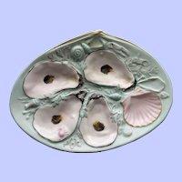 Antique Union Porcelain Works (UPW) Robin's Egg Blue Oyster Plate