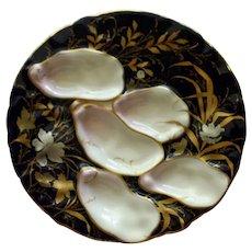 Antique Cobalt and Gilt  Oyster Plate