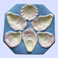 DUO Available: Antique Continental Octagonal Sky Blue Oyster Plate, Shell Shaped Sauce Well