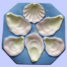 DUO Available:Antique Octagonal Sky Blue Oyster Plate, Shell Shaped Sauce Well
