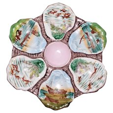 Antique Oyster Plate. Hand Painted Scenes in Wells