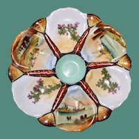 Antique Oyster Plate with 6 Hand Painted Wells, Ships & Seaweed