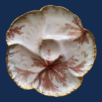 Antique French  Charles Field Haviland Limoges  Oyster Plate, Seaweed, #4
