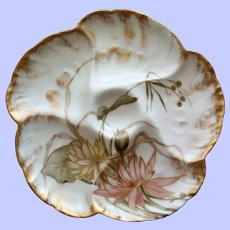 Antique Charles Field Haviland Limoges Oyster Plate, Water Plant Decoration # !