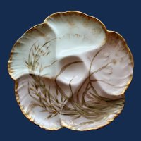 Antique French Charles Field Haviland / GDM Limoges Oyster Plate, Water Plant Decoration #6