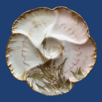 Antique Charles Field Haviland/GDM Limoges Oyster Plate, Water Plant Decoration # 2