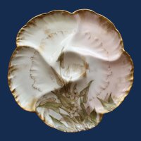 Antique French Charles Field Haviland GDM Limoges Oyster Plate, Water Plants, # 2