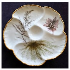 Antique Charles Field Haviland Limoges Oyster Plate. Aesthetic Seaweed Decoration