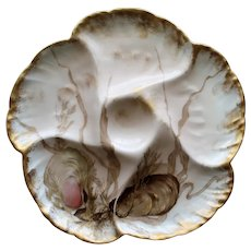 Antique Haviland Limoges Oyster Plate with Exquisite Colors #4