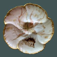 Antique Charles Field Haviland / GDM Limoges Oyster Plate  with Exquisite Colors #6