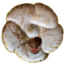 Antique Haviland Limoges Oyster Plate with Exquisite Colors #2