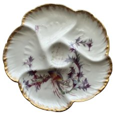 Antique Haviland Limoges Oyster Plate with Shell and Seaweed Design