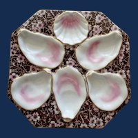 Antique Octagonal Oyster Plate, Chinz Background, Pink & Chocolate