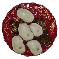 Antique Claret Haviland Limoges Turkey Oyster Plate 1876-1886