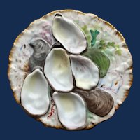 "Antique French Haviland Limoges ""Turkey"" Oyster Plate, Stunning Decoration"