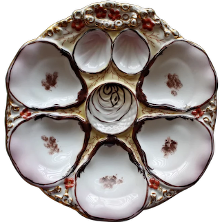 Antique Carl Tielsch Oyster Plate with Coral Flowers & Seaweed