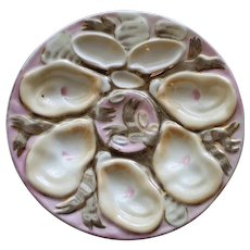 Antique Continental Carl Tielsch Oyster Plate , Ribbons & Shells