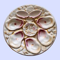 Antique Continental Carl Tielsch Oyster Plate, Pink & Gold