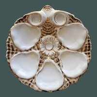 Antique Carl Tielsch Oyster Plate, Daisy Center