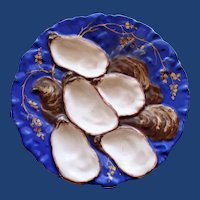 "1876-1886 Antique Haviland & Co. Limoges Royal Blue ""Turkey"" Oyster Plate"