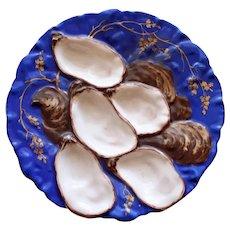 """1876-1886 Antique Haviland & Co. Limoges Royal Blue """"Turkey"""" Oyster Plate"""