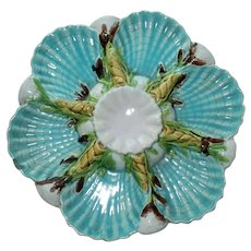 Antique George Jones Majolica Oyster Plate