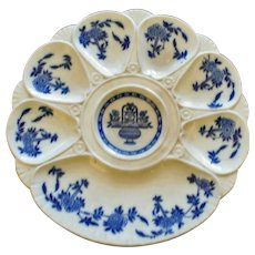 Antique Minton Blue and White Oyster Plate
