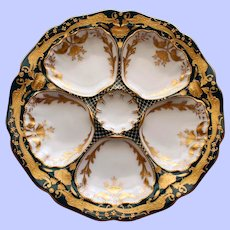 DUO Available: Antique Dresden Ambrosius Lamm Oyster Plate with Gilt Dragons  - Spectacular