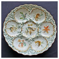Antique Dresden Oyster Plate Featuring Seahorse, Fish, and Other Sealife