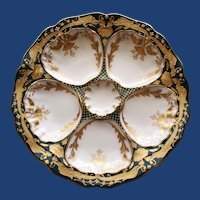 Antique Dresden Ambrosius Lamm Oyster Plate with Gilt Dragons - Spectacular