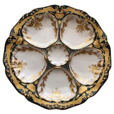 Antique Dresden Ambrosius Lamm Oyster Plate with Gilt Dragons # 4 - Spectacular