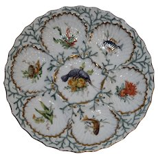 Antique Dresden Oyster Plate with Hand Painted Wells